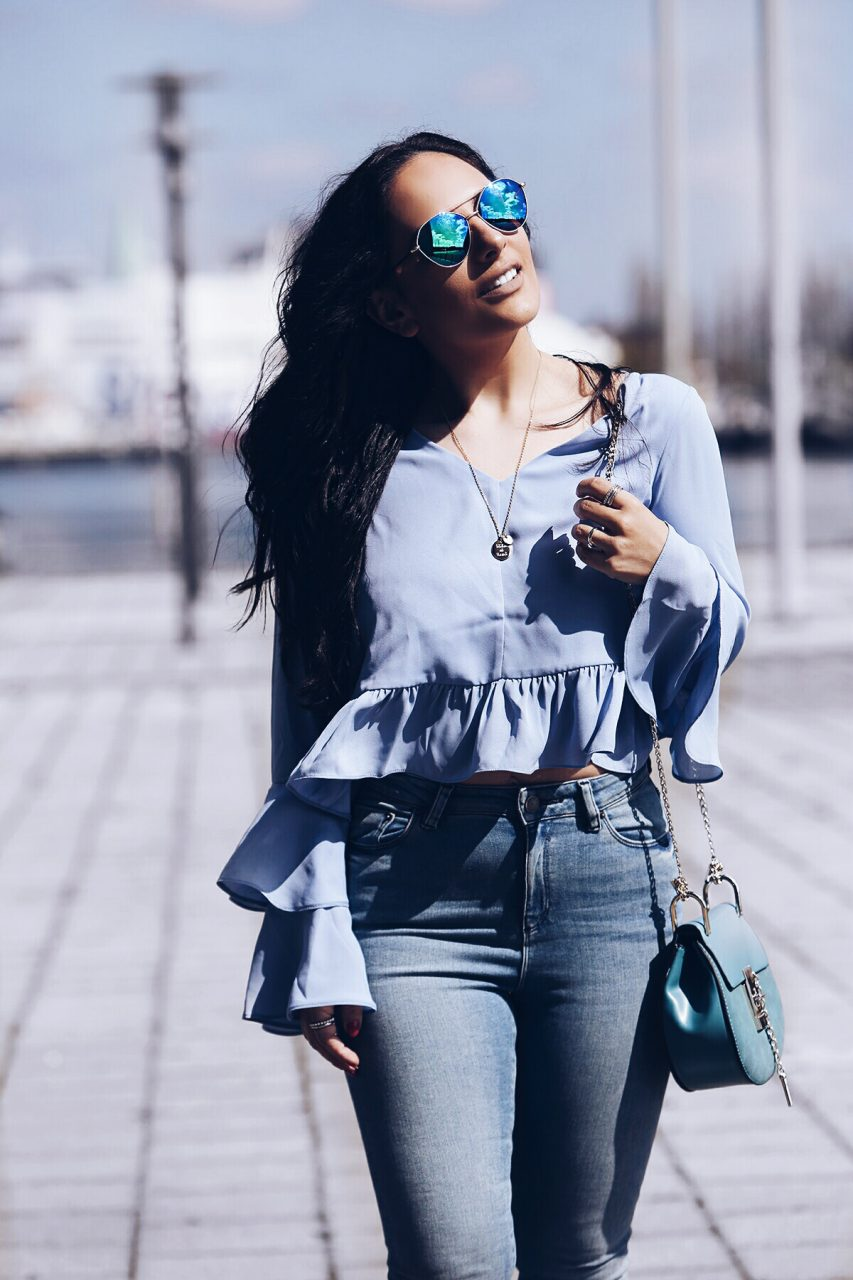 Mom Jeans Bell Sleeves Saddle Bag reflective sunnies